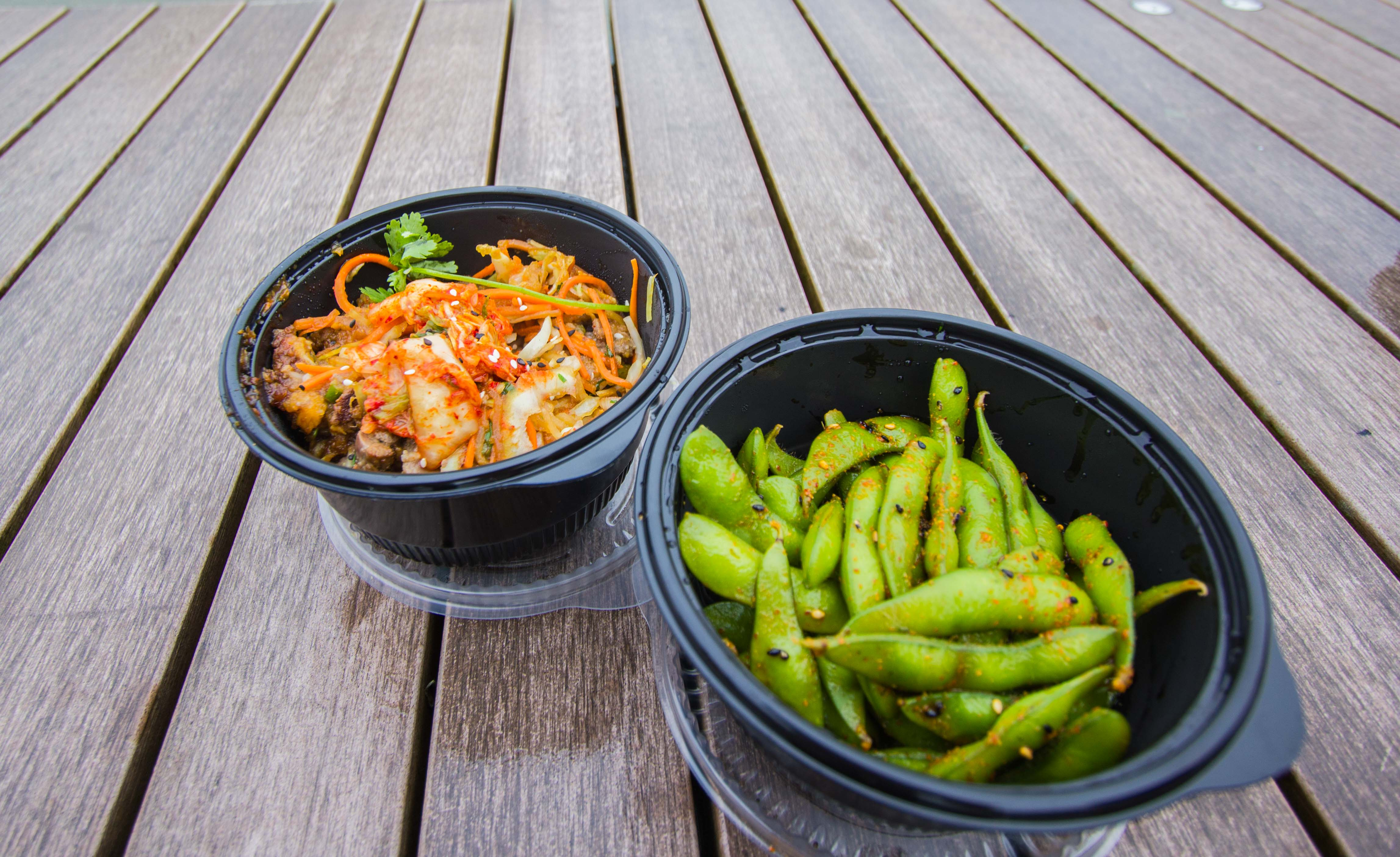 Bulgogi beef bowl on the left, spicy steamed edamame on the right.